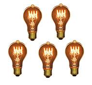 5pcs A19 e27 40W лампы накаливания старинные лампочки для бытовых бар кафе отеля (220-240)