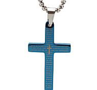 la biblia de papel de titanio collar cruz colgante retro - azul tamaño
