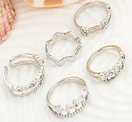 Peach heart clovers five pieces suit ring