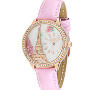 Women's Fashion Watch Quartz Japanese Quartz Casual Watch Leather Band Eiffel Tower White Brown Pink Brand