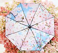 guarda-chuvas vinil romântica cereja uv guarda-sol dobrável claro guarda-sol guarda-chuva mulheres negras