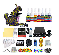Stainless Steel Pedal Power Color Mini Coil Tattoo Machine kIT Equipment(Handle Color Random Delivery)