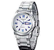 Men's Dress Watch Calendar Casual Watch Noctilucent Luminous Quartz Stainless Steel Band Silver