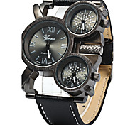 Men's Military Fashion Three Time Zones Leather Band Quartz Watch
