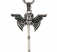 Retro Male Key Pendant Necklace Titanium Crown