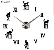 Cats Numeral Clock Oversized Eva Mirror Acrylic Wall Clock 3D Wall Stickers Clock Diy