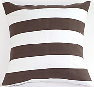 Geometric Graphic Black And White Striped Cotton Canvas Pillow