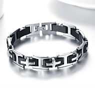 Men's Fashion Silica Gel and Titanium Steel Cross Shape Bracelet