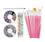 Nail Art Decorations Tools Set With White Wax Rhinestones Picker Pencil 15 Pink Brushes