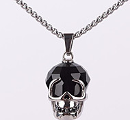 Retro Black Diamond Skull Titanium Necklace