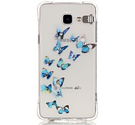 Blue Butterfly Pattern Rhinestone Drop Resistance Calls Flashing TPU Soft Case Phone Case for Samsung A3(2016)/A5(2016)