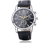 Men's Black/Brown Leather Band Heart Black Analog Quartz Dress Skeleton Watch(NO Water Ressistant) Fashion Watch