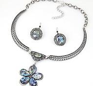 bijou argent opale fleur de pierre pendentif collier bijoux collier ensemble