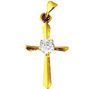 Gold Plated Copper Cross Pendant (Glass-inlaid)