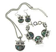 Women's European Style Fashion Cute Owl Earrings Bracelet Necklace Set