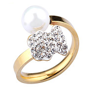 18K gold diamond ring opening high-grade pearls bear