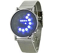 Hommes Montre de Sport Numérique LED Noctilumineux Alliage Bande Argent Marque