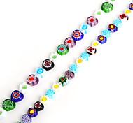 Beadia 38Cm/Str 8mm Heart Millefiori Flower Lampwork Glass Beads(1.0mm Hole)
