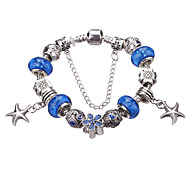 Antique Silver Plated Starfish Pendant Beads Strands Bracelet #YMGP1023