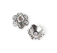 55pcs beadia antiguos granos de la aleación de plata 8x3mm forma de la flor espaciador rebordea&perlas casquillo