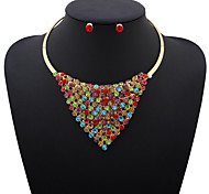 MPL European and American fashion triangle Diamond Necklace Earrings Set