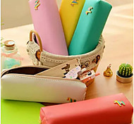 Korean Version Of The Creative Color Colt Cute Candy-Colored Minimalist Leather Pencil Case Stationery Bags
