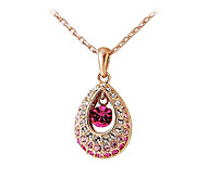 Women's Couple's Pendant Necklaces Crystal Crystal Cubic Zirconia Alloy Drop Fashion Adorable Pink Transparent JewelryWedding Party Daily