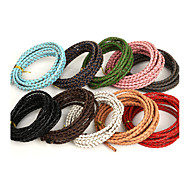 Beadia 3mm Braided Leather Cord Fit Necklaces & Bracelets 2MTS Length(10 Colors)