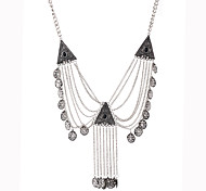 European And American Retro Diamond Tassel Necklace Oval