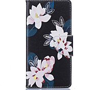 Black Lily Pattern Card Phone Holster for Huawei P9/P9 Lite/Honor 5X