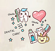 Wall Stickers Wall Decals Style Cartoon Cute Love Toothbrush PVC Wall Stickers