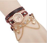 Woman Peach Heart Pendant Wrist Watch