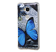 Blue Butterfly Pattern Grainy Inner Shockproof Air TPU Case for Huawei Honor Play 5X / Honor 5X