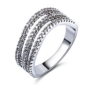 Woman Hollow Fashion Rings Sparkling AAA Grade Cubic Zircon High Quality Platinum Plated Lead Free
