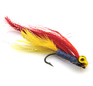 Anmuka 4pcs Wet Fly Lure Single Hook Various Colors Long Tail Fish Feather Hook Trout Fishing Dry Flies