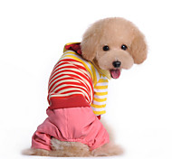 Dog Clothes/Jumpsuit Red / Blue Winter Stripe Striped, Dog Clothes / Dog Clothing