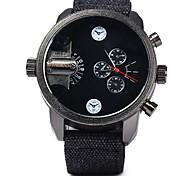 SHI WEI BAO J3130 Men's Double Disc Movement Seconds A Watch Canvas Belt Strap