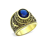 US Air Force Men's Military Rings Stainless Steel 316 IP Gold Plated Montana Main Stone Environmental Material Lead Free Christmas Gifts