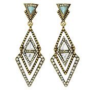 Gold   Rhinestone Hanging Earrings