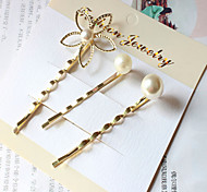 3PCS Pearl Flower Hair Pins Clip Hair Jewelry