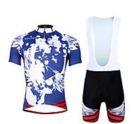 Cycling PaladinSport Men Shirt + Straps Shorts Suit BKT656 Blue Skeleton