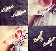 Personality Alphabet Letter Gold Silver Stud Earrings
