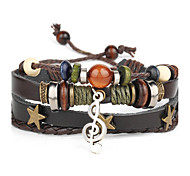 Punk Men's Bracelet PU Leather Bracelet Music Note Charm Multilayer for Men Fashion Jewelry Christmas Gifts