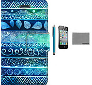 COCO FUN® Circle Tribal Pattern PU Leather Case with Screen Protector and USB Cable and Stylus for iPhone 4/4S