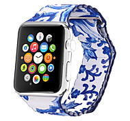 Blue and White Porcelain Genuine Leather  Blue Leather Leather Loop For Apple Watch 38mm / 42mm