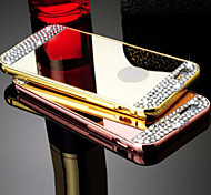 Luxury Diamond Decorated PC Mirror Back Cover + Aluminium Metal Bumper Frame Case for IPhone 6 (Assorted colors)