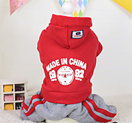 Dog Hoodie Red / Blue / Purple Winter Letter & Number Keep Warm, Dog Clothes / Dog Clothing