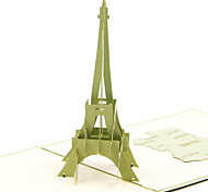Tour Eiffel Greeting Cards Creative 3D Perspective Monumental Sculpture Postcard