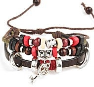 Punk Men's Bracelet PU Leather Bracelet Key Charm Multilayer for Men Fashion Jewelry