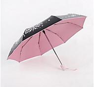 plegado paraguas de la lluvia que cae Sakula hembra pequeña cereza fresca paraguas paraguas automático sombrilla ultraligero